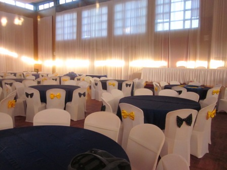 Indoor Wedding Reception – blue and yellow | Kazawa Events